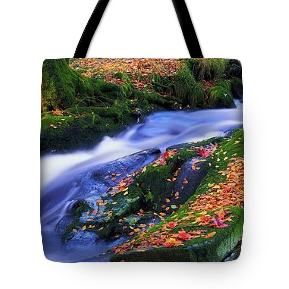 Autumn Tote Bag featuring the photograph Glenmacnass Waterfall, Co Wicklow by The Irish Image Collection