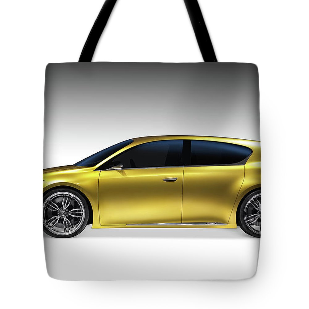 Car Tote Bag featuring the photograph Gold Lexus Lf-ch Hybrid Car by Oleksiy Maksymenko
