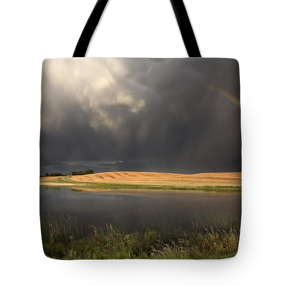 Storm Tote Bag featuring the photograph Hail Storm And Rainbow by Mark Duffy