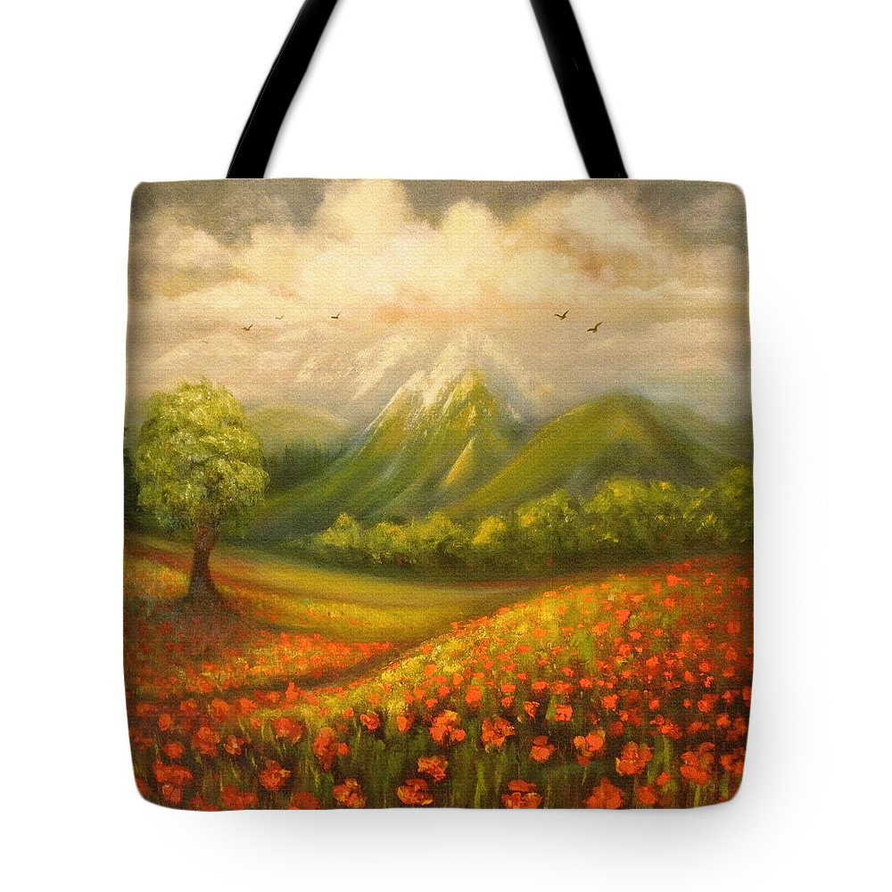 Poppy Field Tote Bag featuring the painting In The Old Mountains by Gina De Gorna