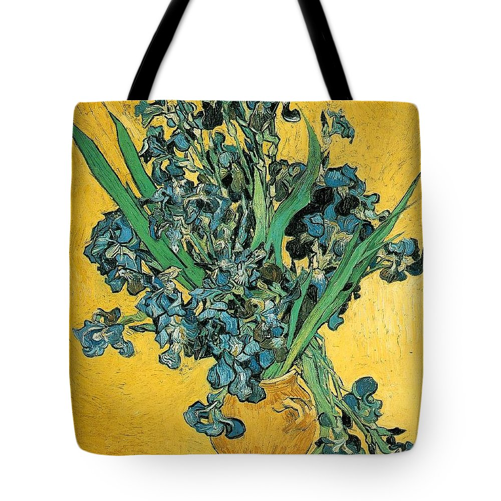 Impressionism Tote Bag featuring the painting Irises by Sumit Mehndiratta