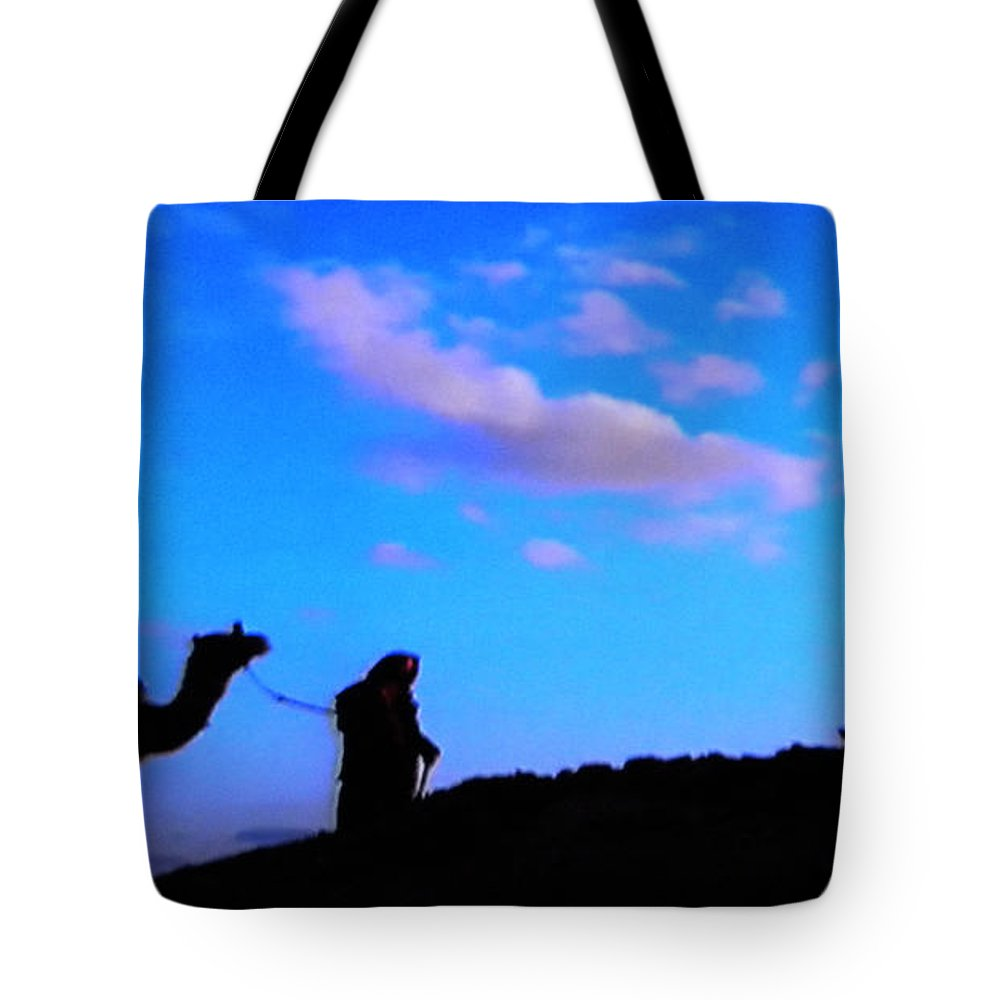 Colette Tote Bag featuring the photograph 2 Late Evening Beduin Camel Walk In The Desert by Colette V Hera Guggenheim