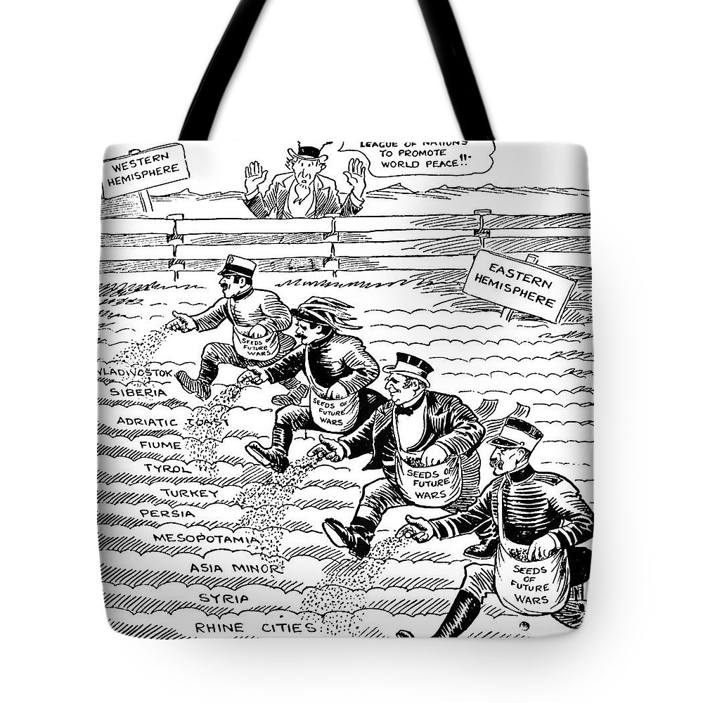 1920 Tote Bag featuring the drawing League Of Nations Cartoon - To License For Professional Use Visit Granger.com by Granger