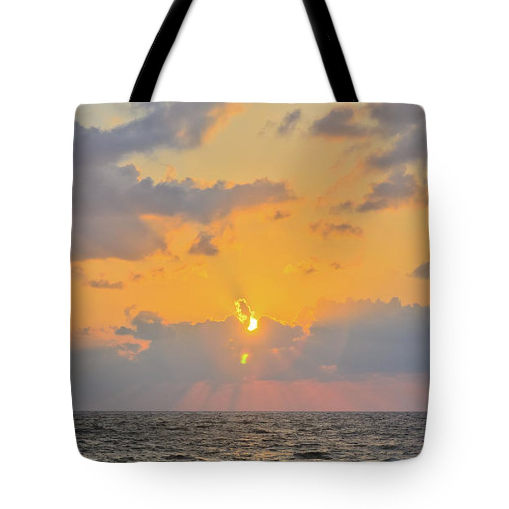Blue Tote Bag featuring the photograph Mediterranean Sunset by Michael Goyberg