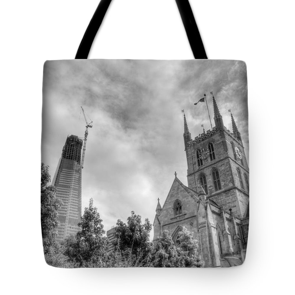 Shard Tote Bag featuring the photograph New and Old by Chris Day