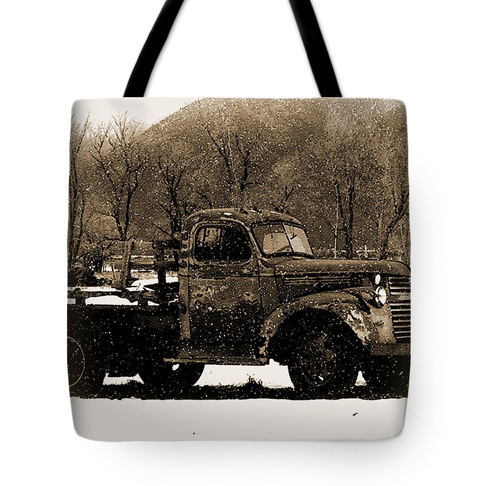 Truck Tote Bag featuring the photograph New Mexico Winter by Terry Fiala