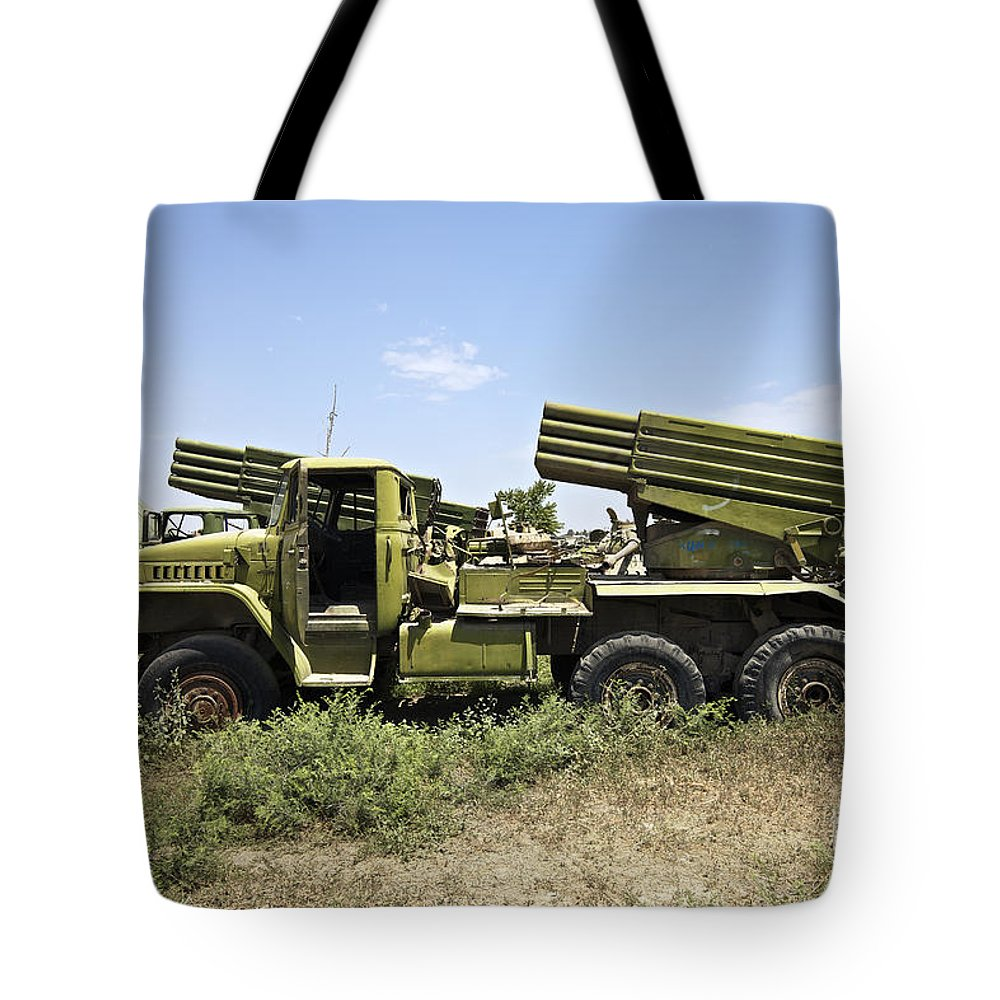 War Tote Bag featuring the photograph Old Russian Bm-21 Launch Vehicle by Terry Moore