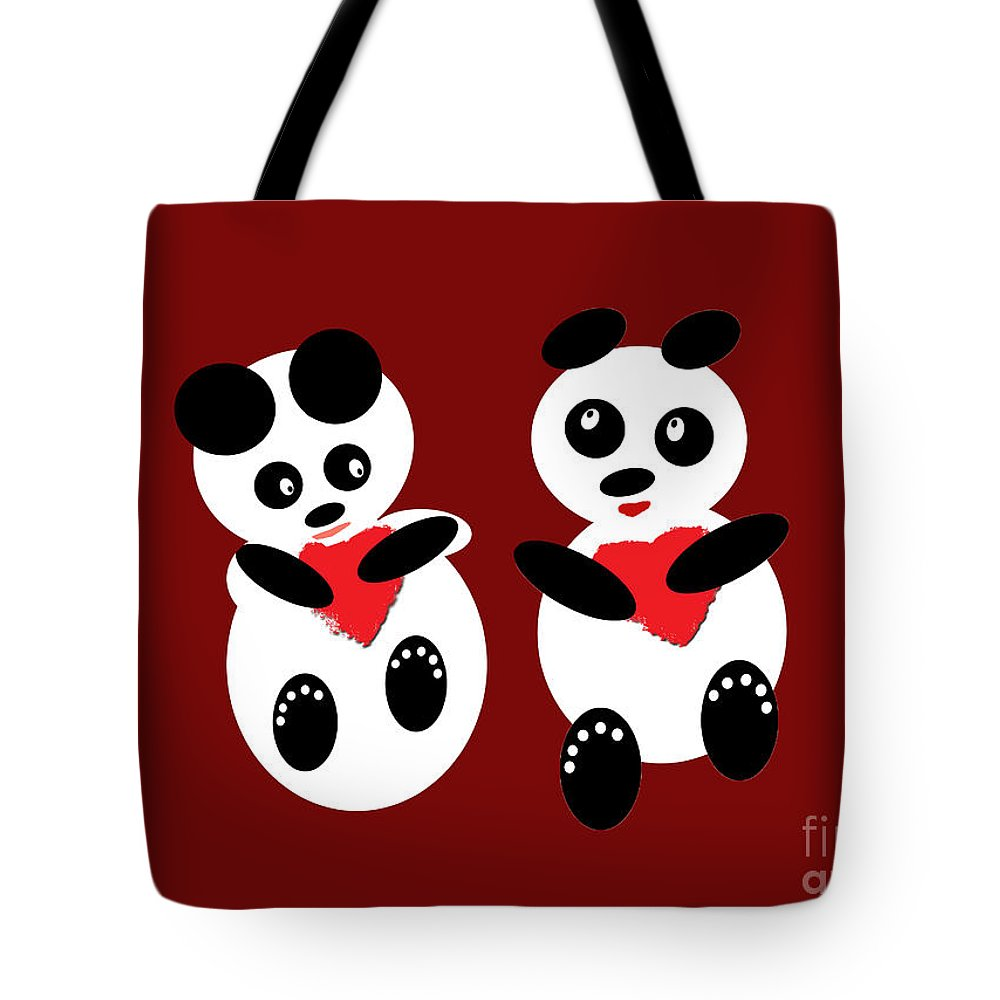 Pandas Tote Bag featuring the photograph 2 Pandas In Love by Ausra Huntington nee Paulauskaite