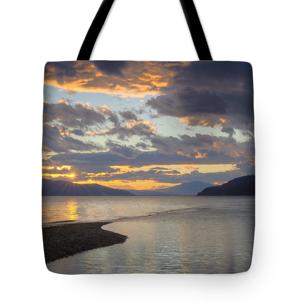 Sunset Tote Bag featuring the photograph Pend Oreille Sunset by Idaho Scenic Images Linda Lantzy