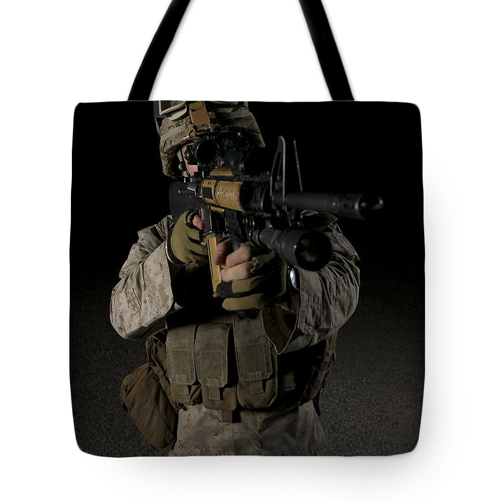 Focus Tote Bag featuring the photograph Portrait Of A U.s. Marine Wearing Night by Terry Moore