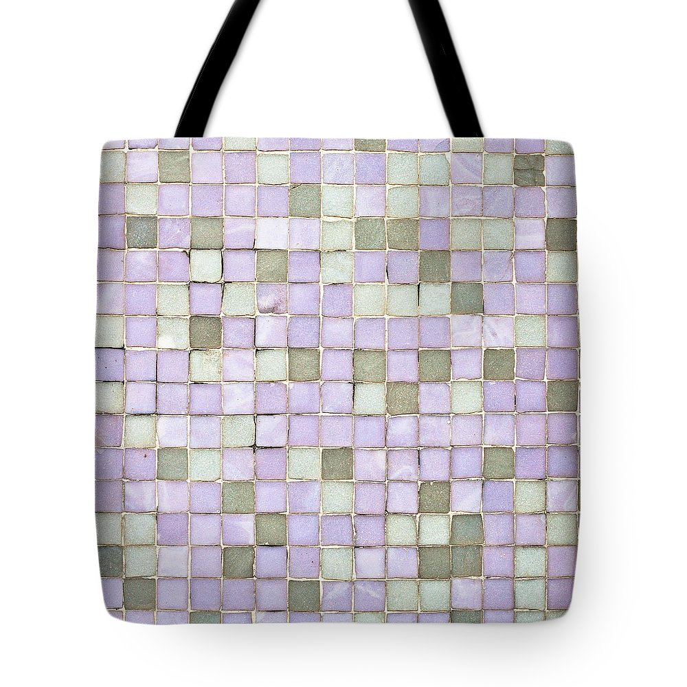 Aphazard Tote Bag featuring the photograph Purple Tiles by Tom Gowanlock