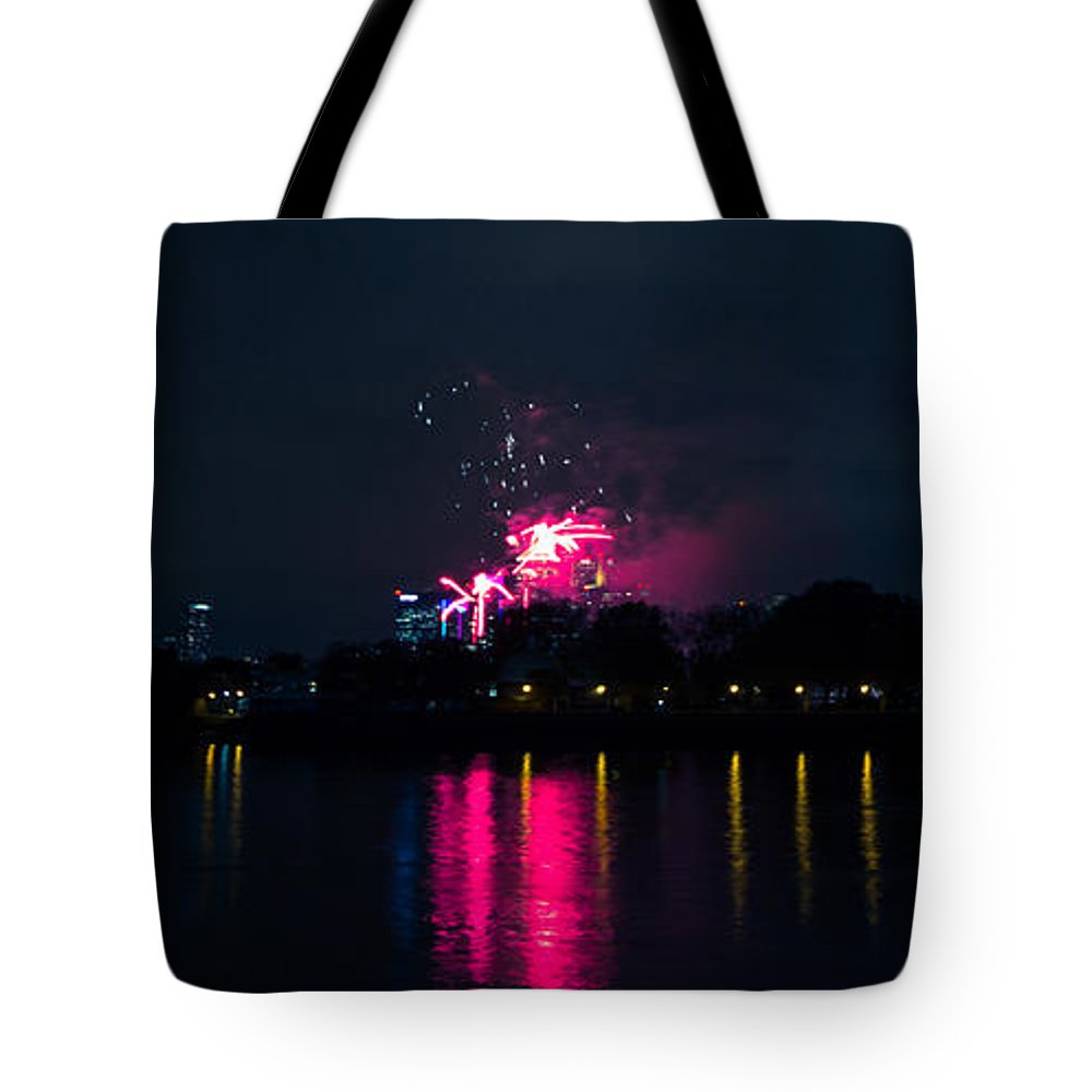Millbank Park Fireworks Tote Bag featuring the photograph River Thames Fireworks by Dawn OConnor