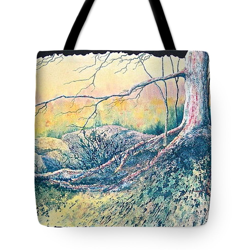 Watercolor Tote Bag featuring the painting Rooted In Time by Carolyn Rosenberger