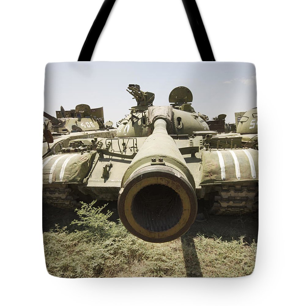 Cannon Tote Bag featuring the photograph Russian T-54 And T-55 Main Battle Tanks by Terry Moore