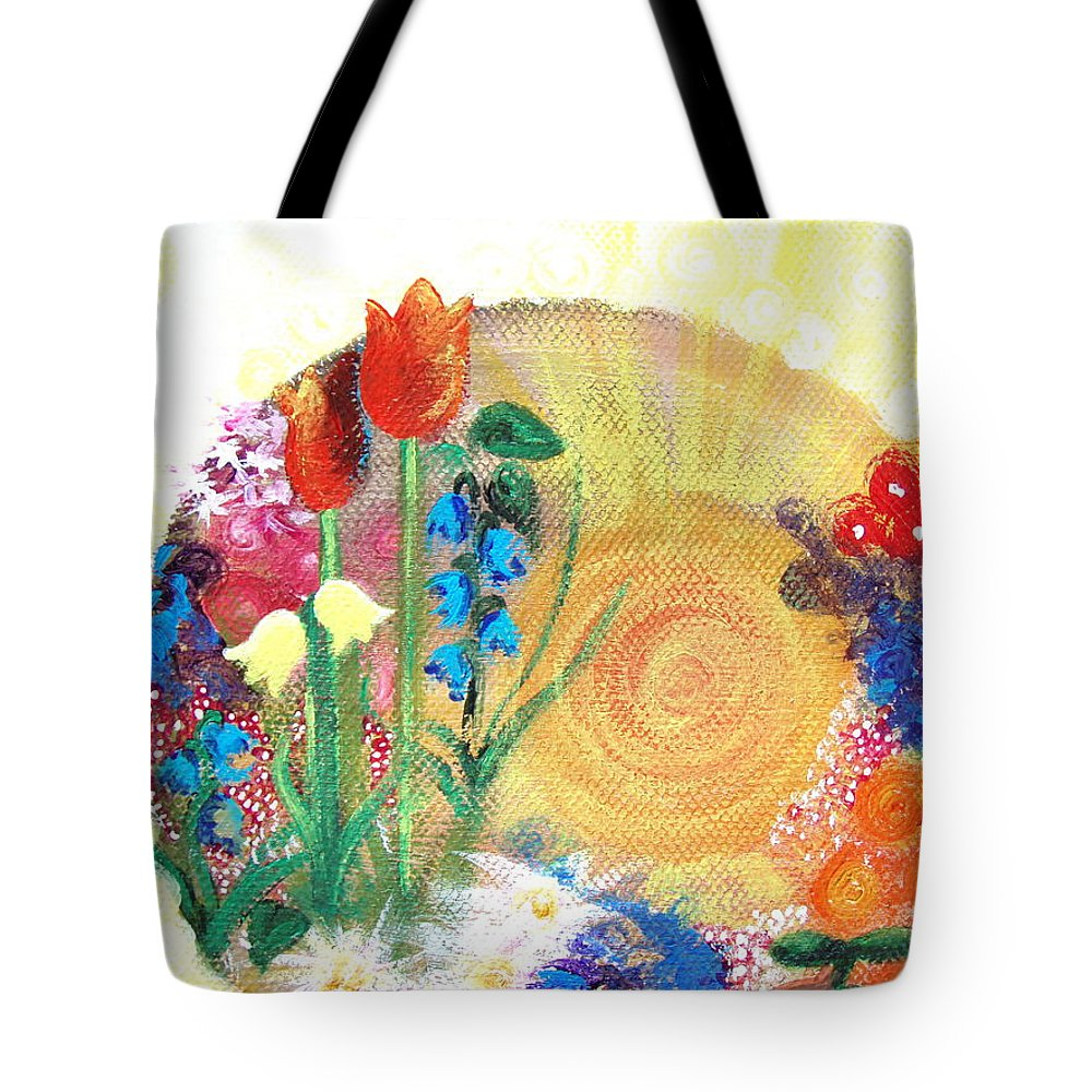 Flowers Tote Bag featuring the painting Seeds by Catt Kyriacou