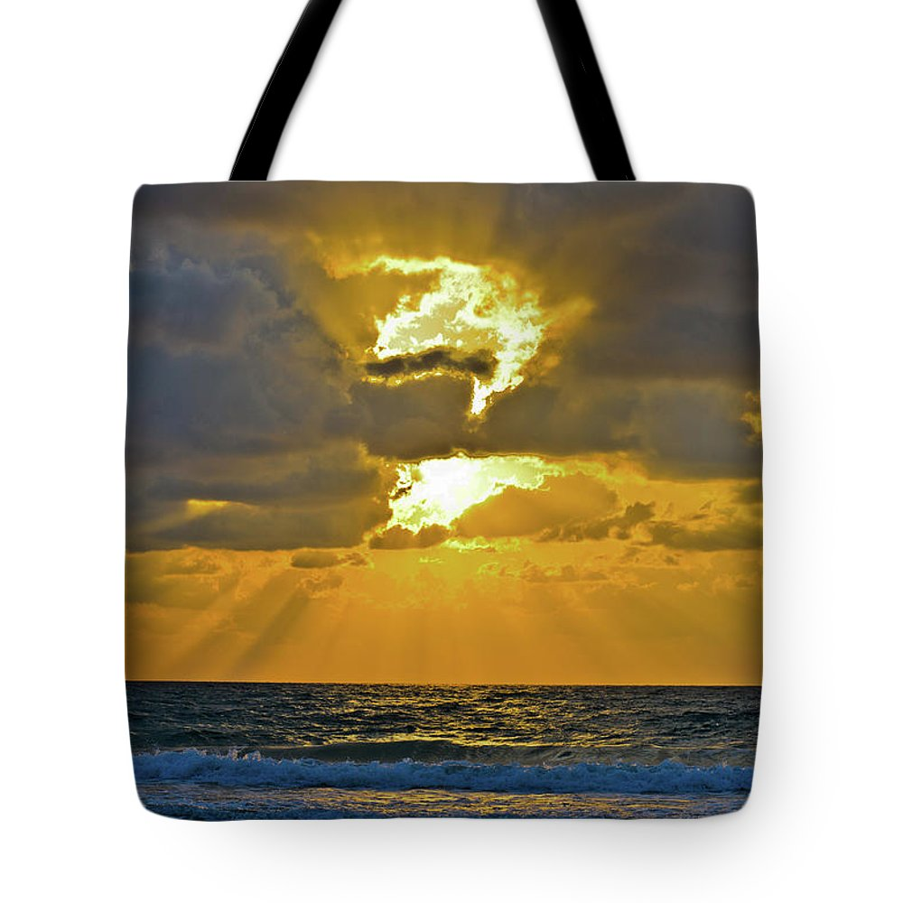Blue Tote Bag featuring the photograph Sunset by Michael Goyberg