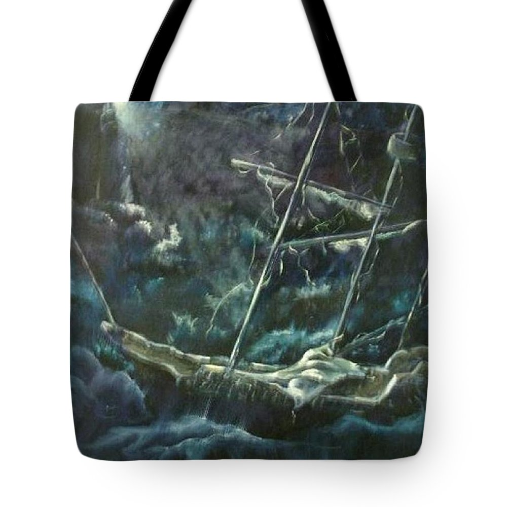 Ship At Sea Tote Bag featuring the painting Surviving The Storm by Marylyn Wiedmaier