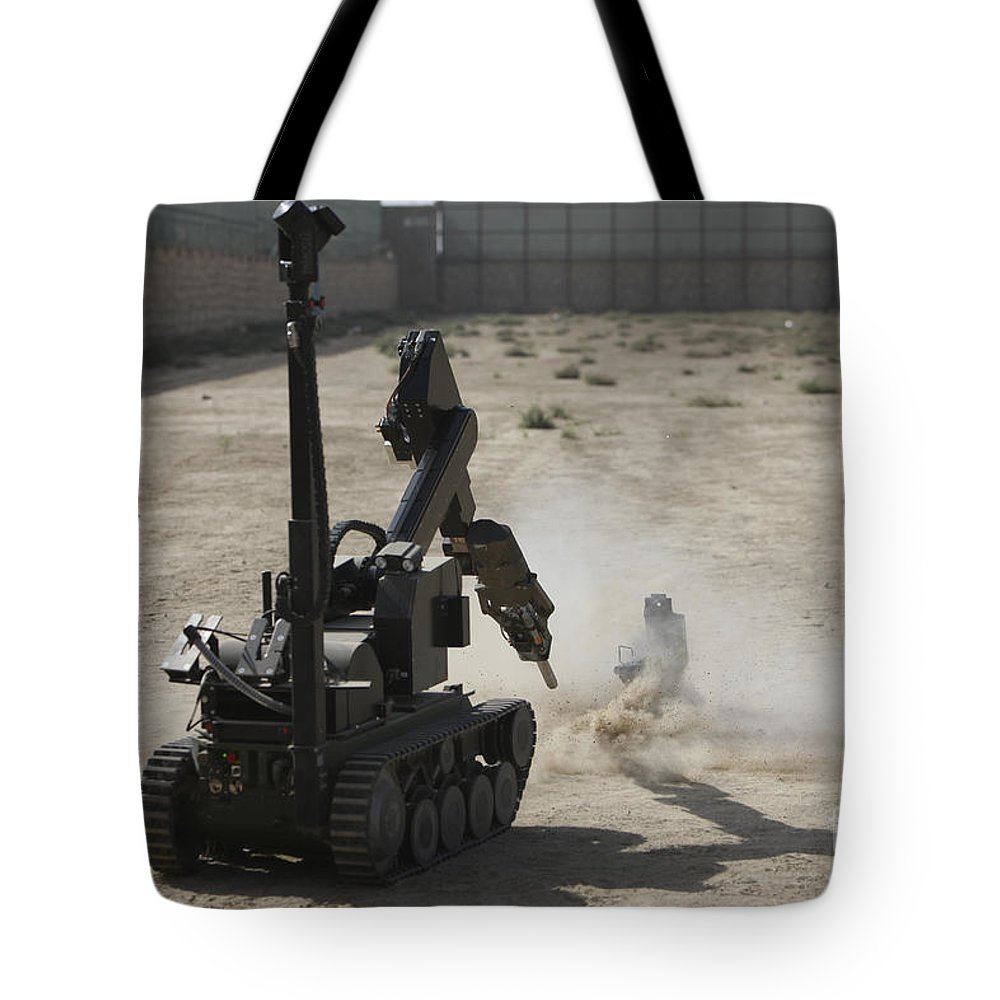 Robot Tote Bag featuring the photograph The Teodor Heavy-duty Bomb Disposal by Terry Moore