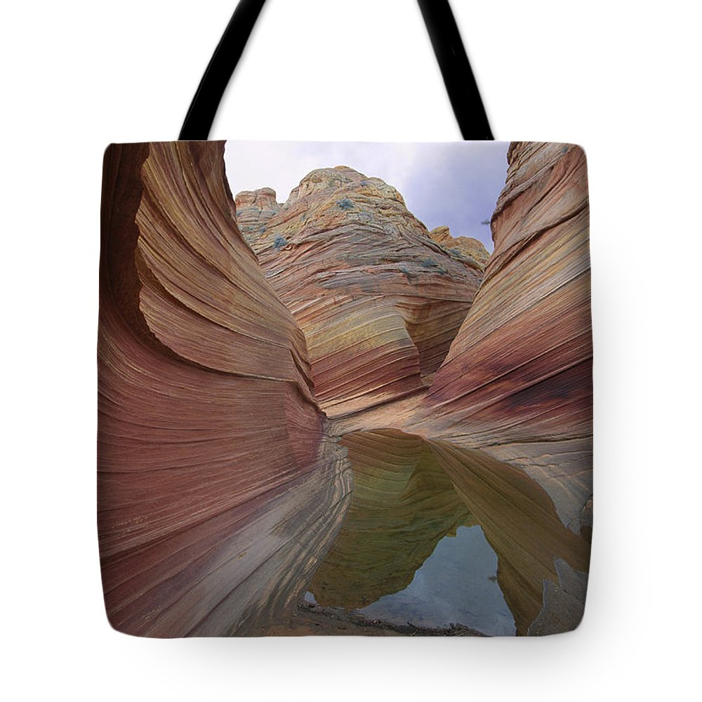 Rock Formations Tote Bag featuring the photograph The Wave, A Fragile Standstone by Melissa Farlow