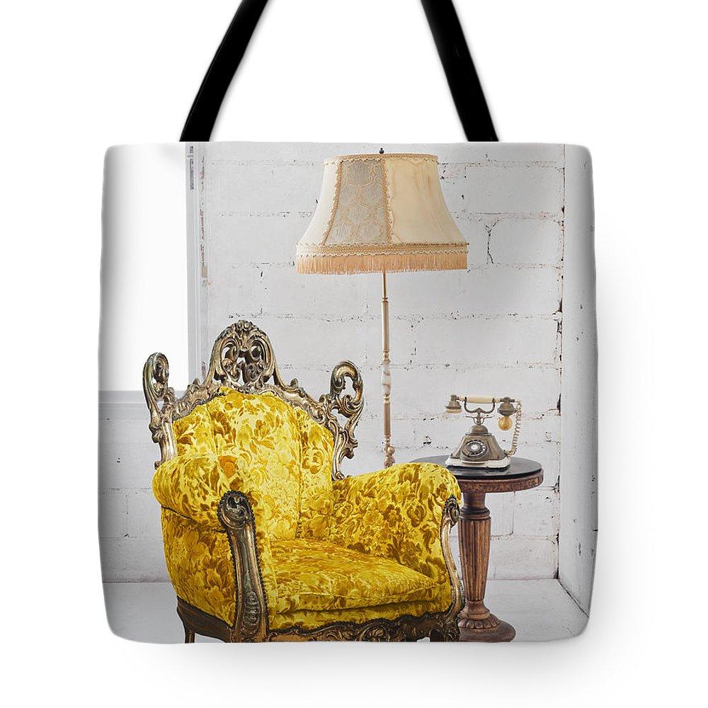 Antique Tote Bag featuring the photograph Victorian Sofa In White Room by Setsiri Silapasuwanchai