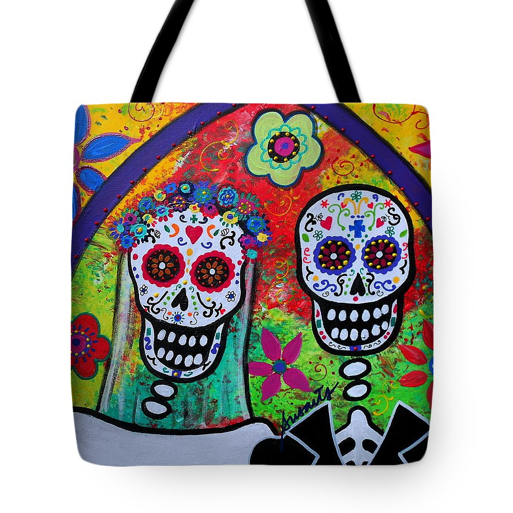 Tres Tote Bag featuring the painting Wedding Dia De Los Muertos by Pristine Cartera Turkus