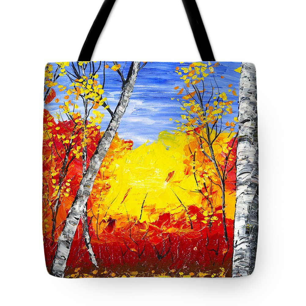 Birch Tree Painting Tote Bag featuring the painting White Birch Tree Abstract Painting In Autumn by Keith Webber Jr