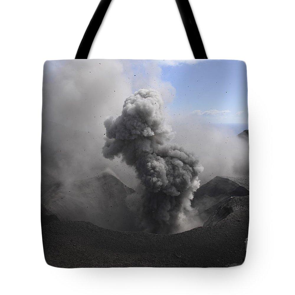 No People Tote Bag featuring the photograph Yasur Eruption, Tanna Island, Vanuatu by Martin Rietze