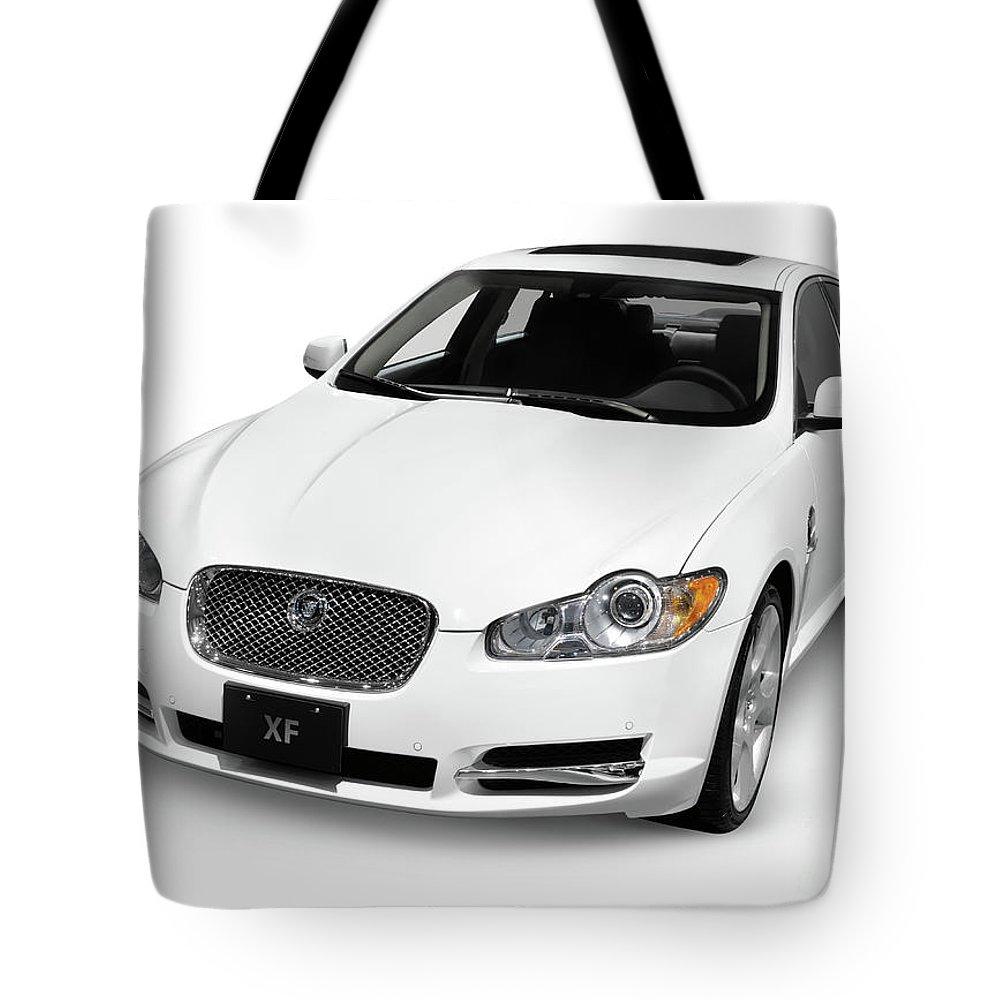 Jaguar Tote Bag featuring the photograph 2009 Jaguar Xf Luxury Car by Oleksiy Maksymenko