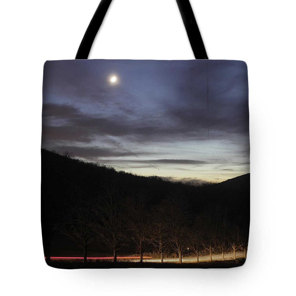 Twilight Tote Bag featuring the photograph 20111127moon by Tom Bushey