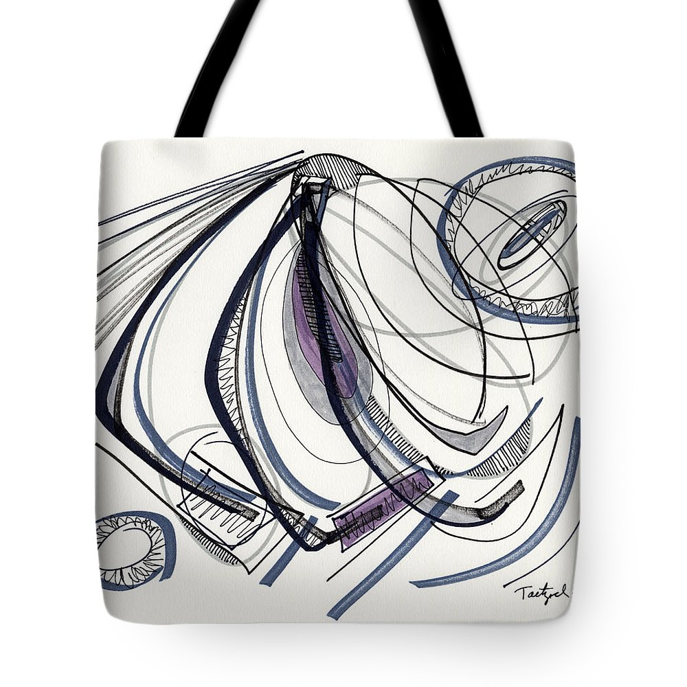 Abstract Tote Bag featuring the drawing 2012 Drawing #17 by Lynne Taetzsch