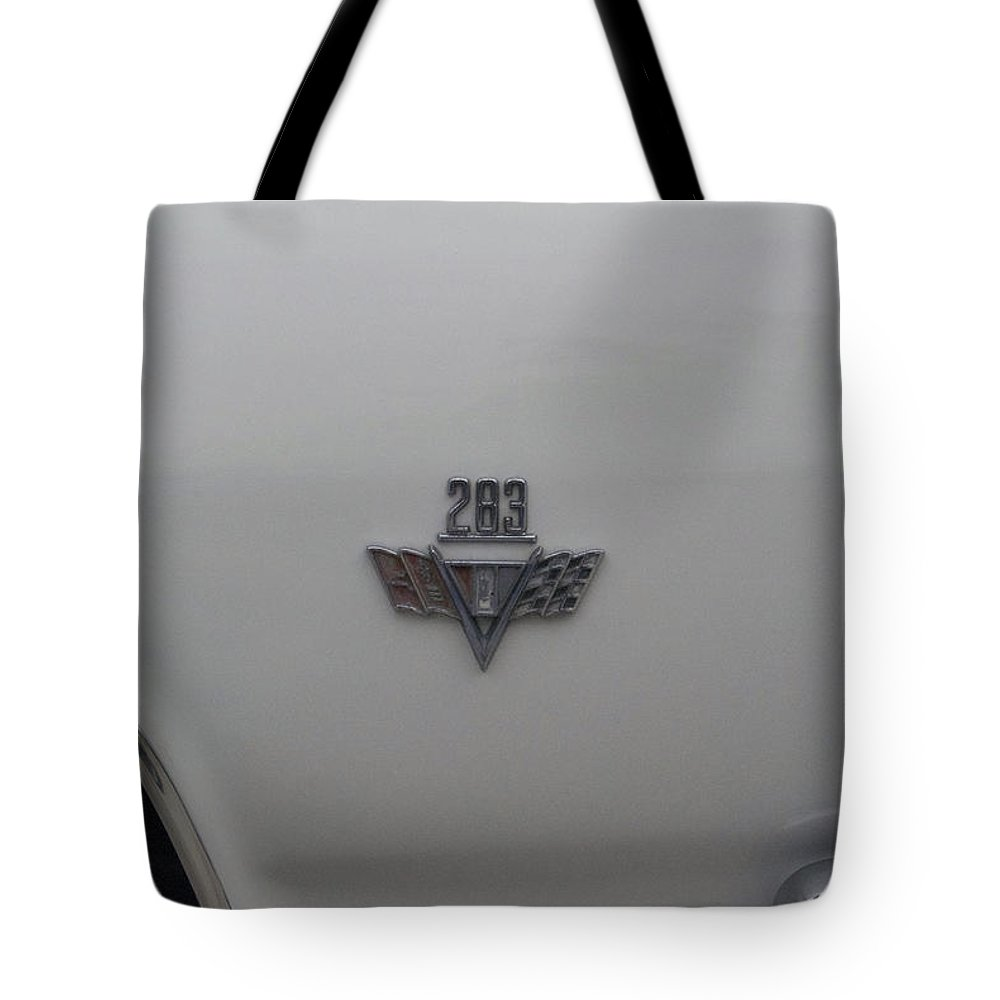 Transportation Tote Bag featuring the photograph 283 Chevy Emblem by Thomas Woolworth