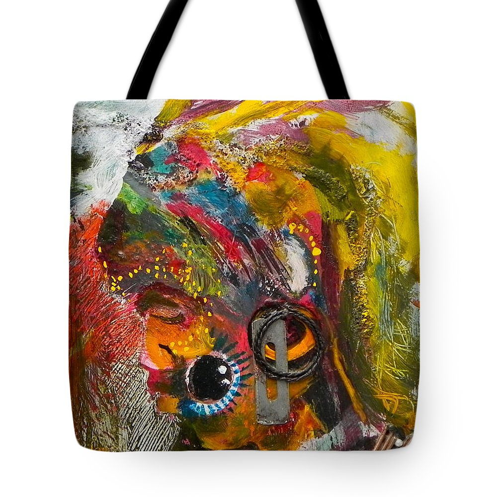 Painting Tote Bag featuring the painting African Bead Painting by Mohamed-saeed Omer