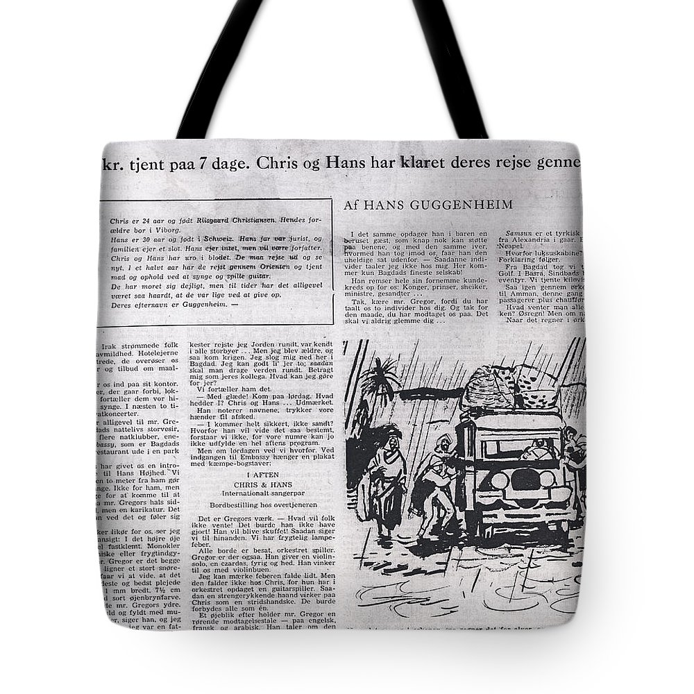 Colette Tote Bag featuring the mixed media Bits From Danish Article From The Fifties by Colette V Hera Guggenheim