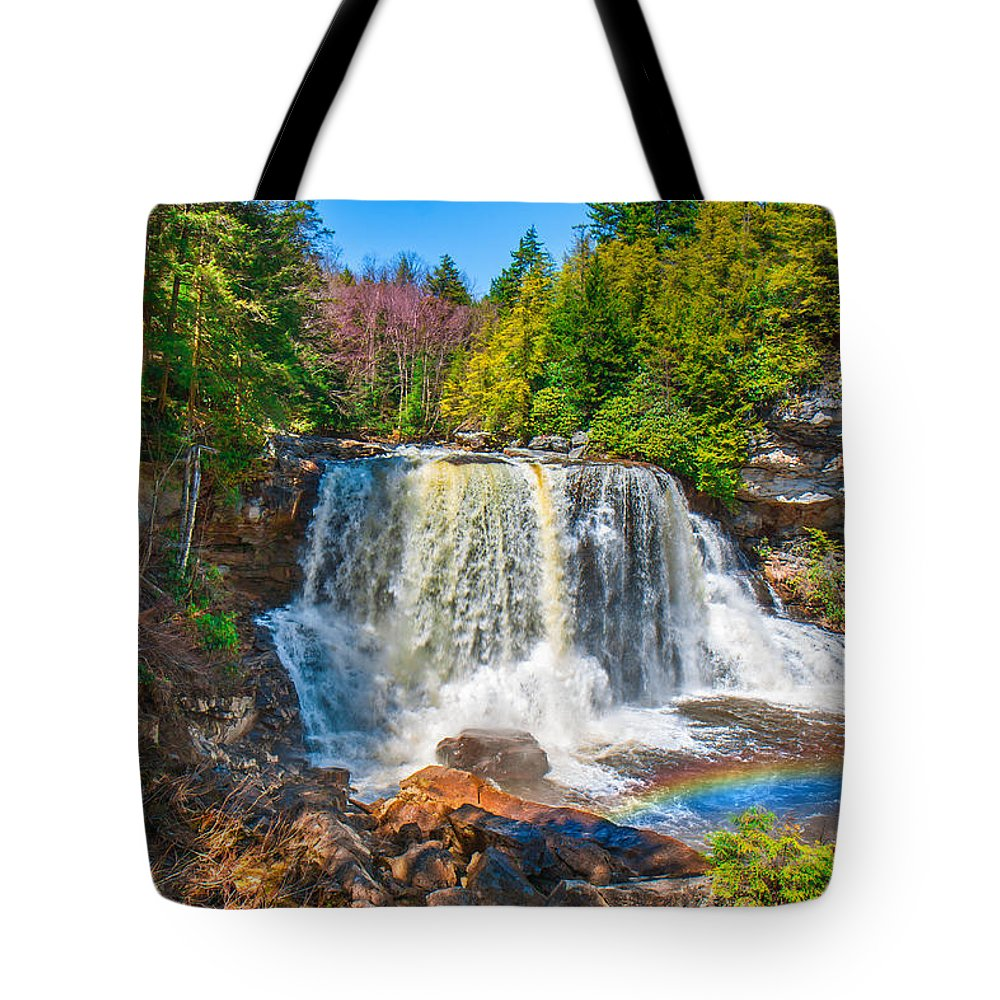 Rainbow Tote Bag featuring the photograph Blackwater Falls by Mary Almond