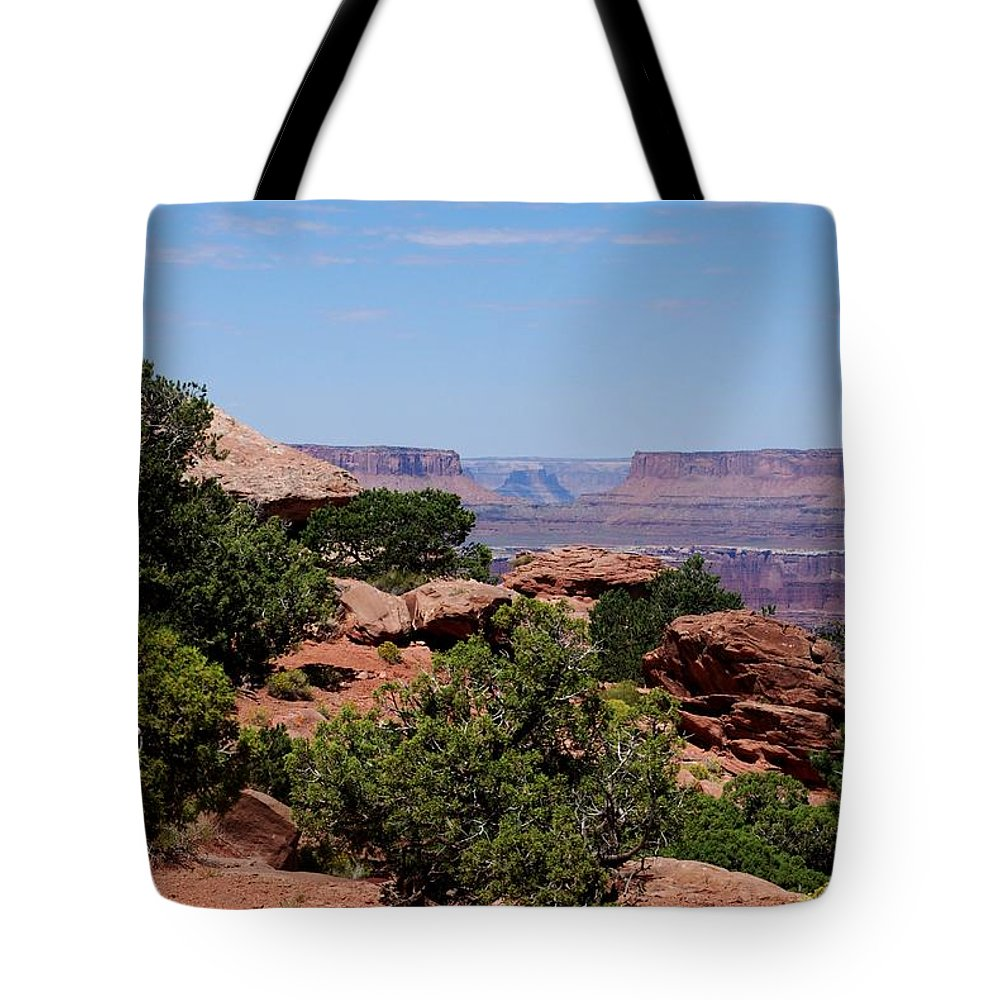 Canyonlands Tote Bag featuring the photograph By The Canyon by Dany Lison