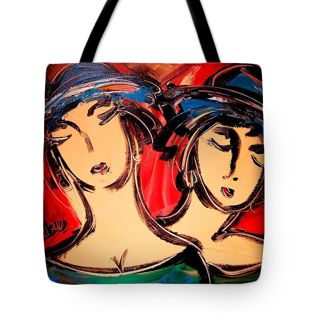 Girls Tote Bag featuring the painting Girls by Mark Kazav
