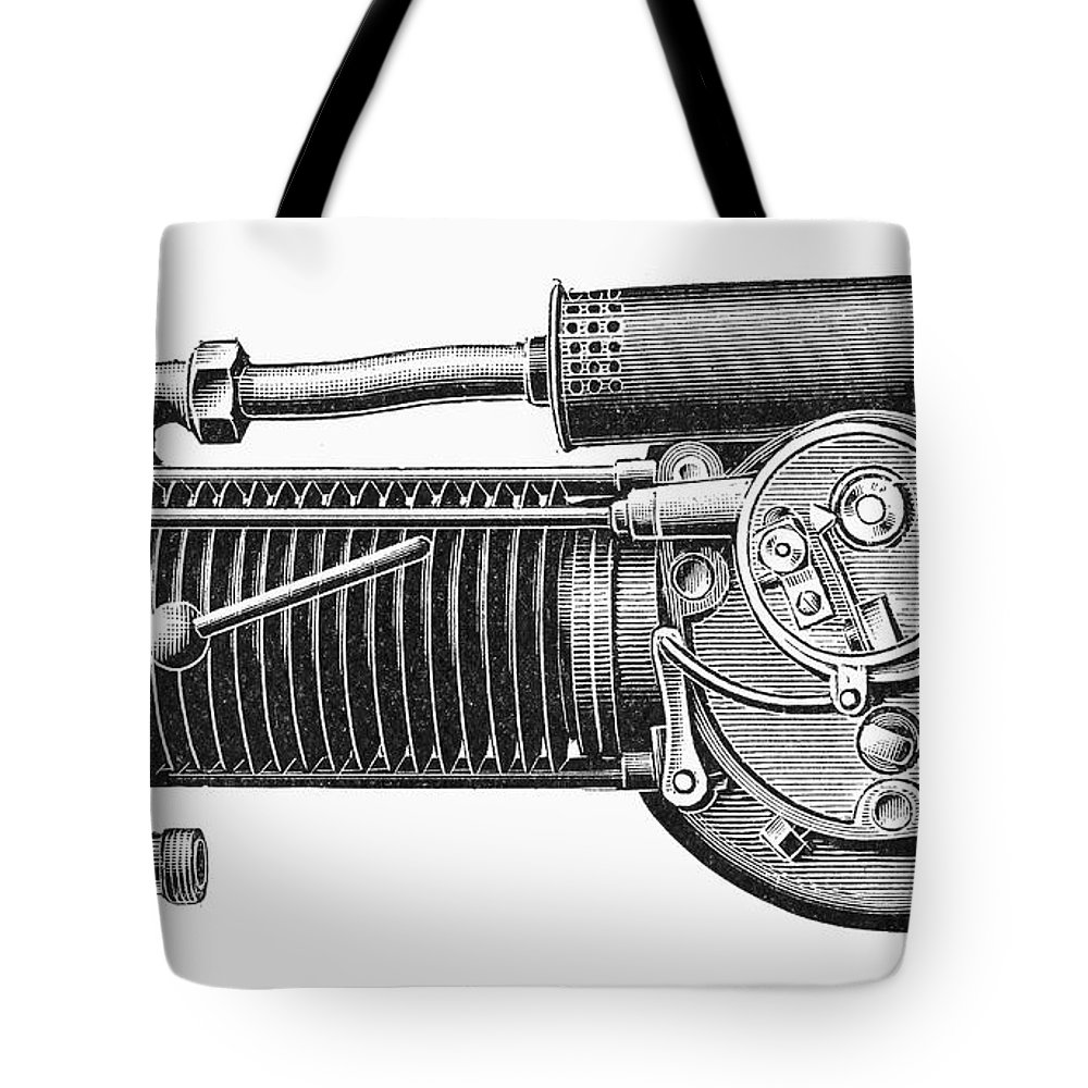 1902 Tote Bag featuring the photograph Motorcycle, 1902 by Granger
