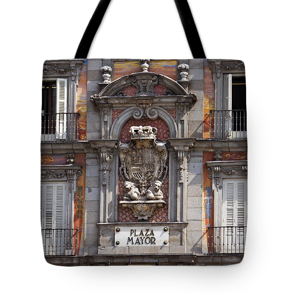 Madrid Tote Bag featuring the photograph Plaza Mayor by David Pringle