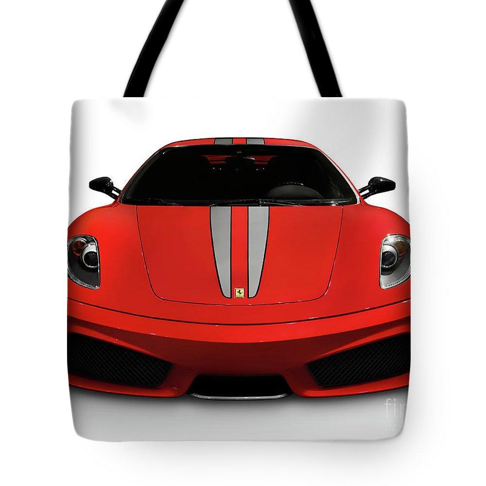 Ferrari Tote Bag featuring the photograph Red Ferrari F430 Scuderia by Oleksiy Maksymenko