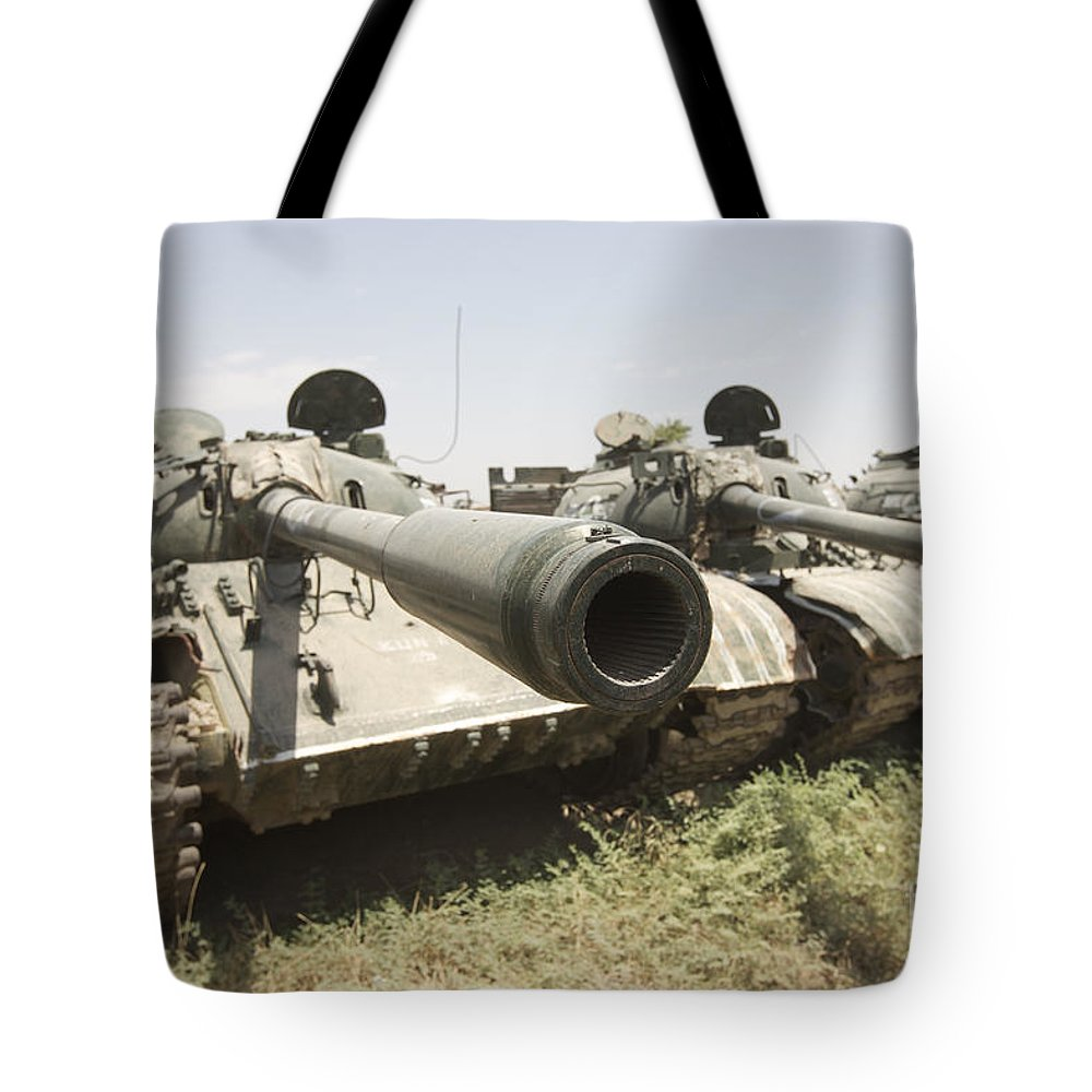 Army Tote Bag featuring the photograph Russian T-54 And T-55 Main Battle Tanks by Terry Moore