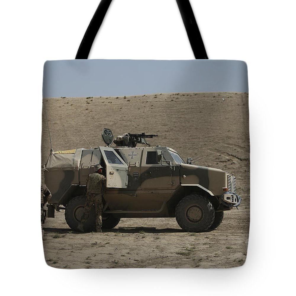 Operation Enduring Freedom Tote Bag featuring the photograph The German Army Atf Dingo Armored by Terry Moore