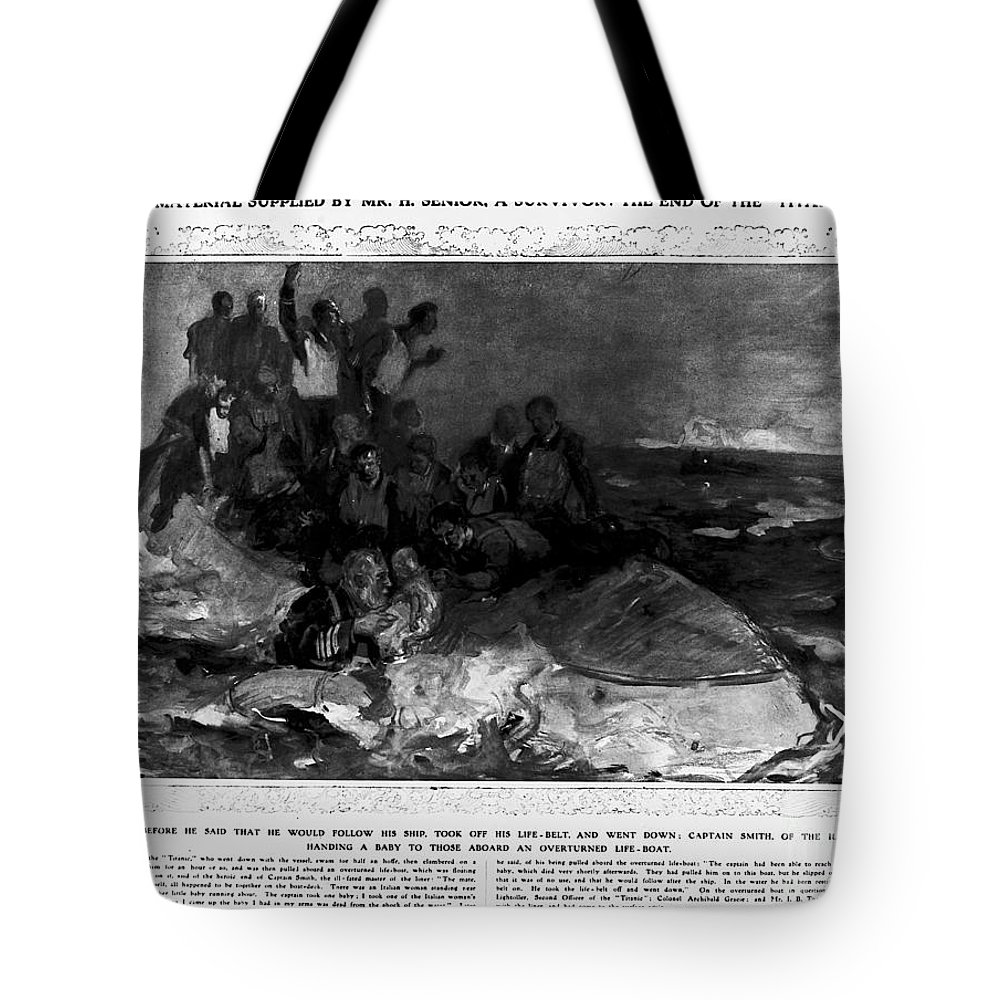 1912 Tote Bag featuring the photograph Titanic: Sinking, 1912 by Granger
