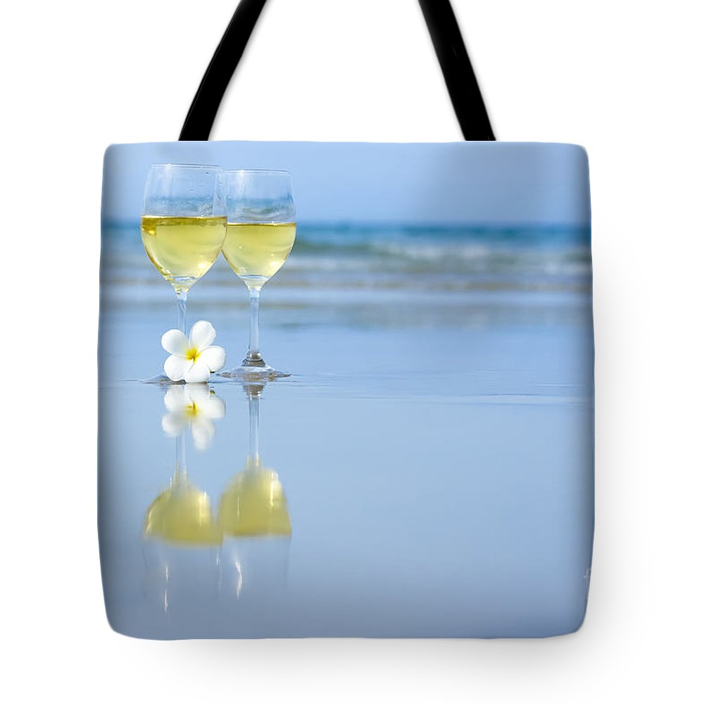 Glasses Tote Bag featuring the photograph Two Glasses Of White Wine by MotHaiBaPhoto Prints