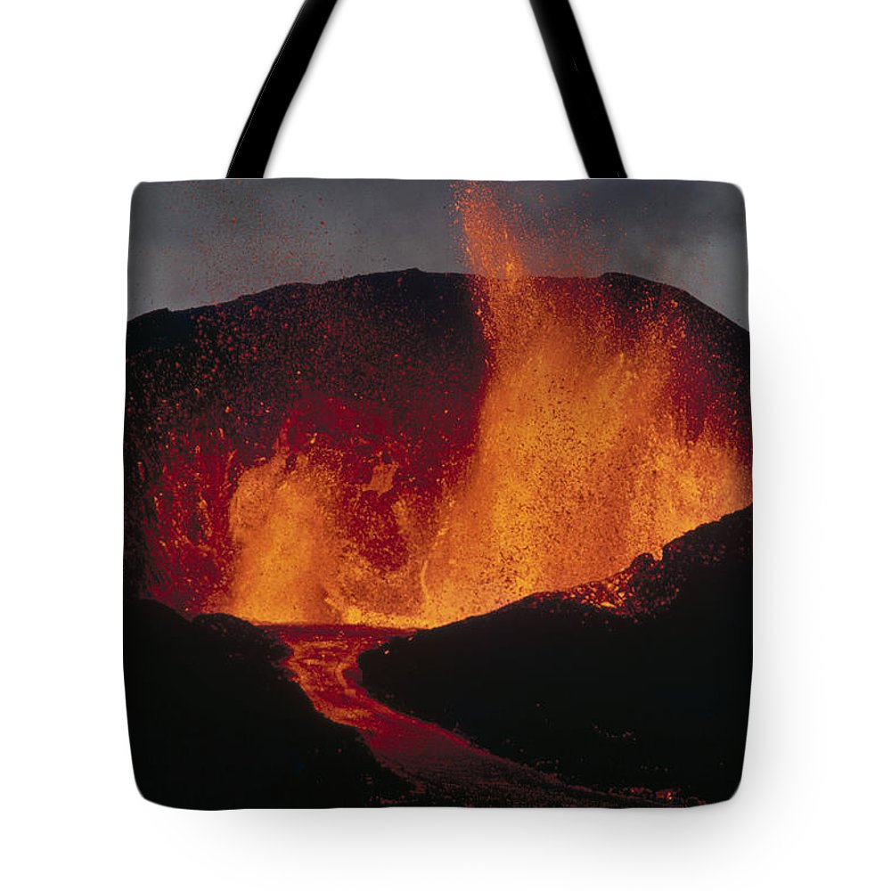 Cerro Azul Tote Bag featuring the photograph Volcanic Eruption, Spatter Cone by Tui De Roy
