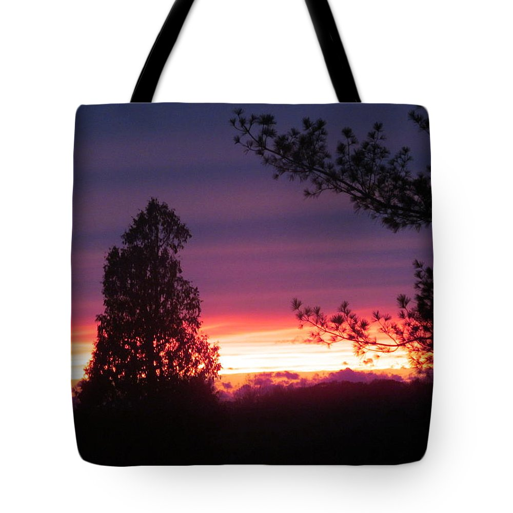 Sun Tote Bag featuring the photograph 31oct2012 Sunset Four by Tina M Wenger
