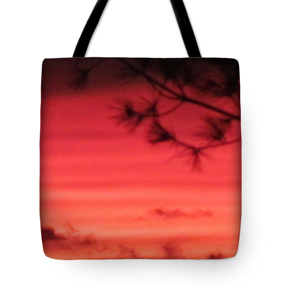 Sun Tote Bag featuring the photograph 31oct2012 Sunset Seven Hazy by Tina M Wenger