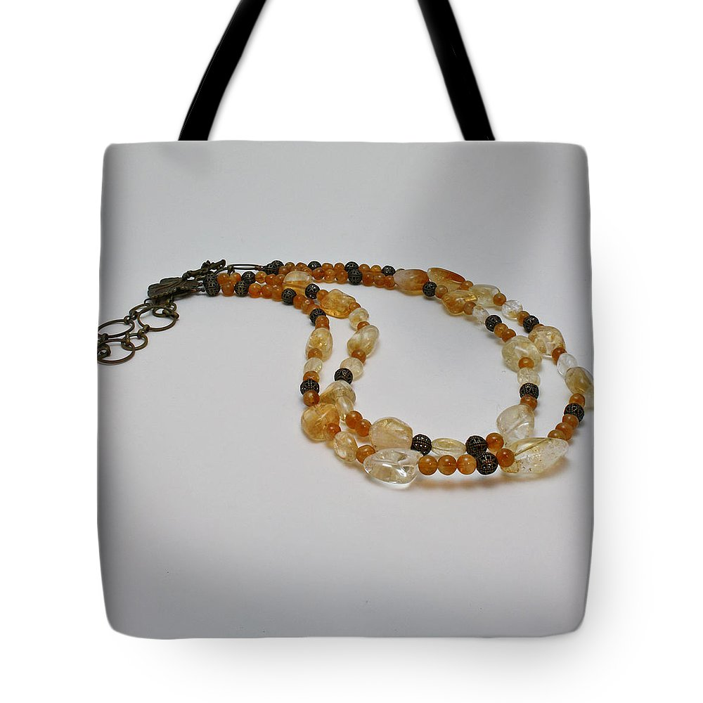 Citrine Nuggets Tote Bag featuring the jewelry 3514 Citrine Double Strand Necklace by Teresa Mucha