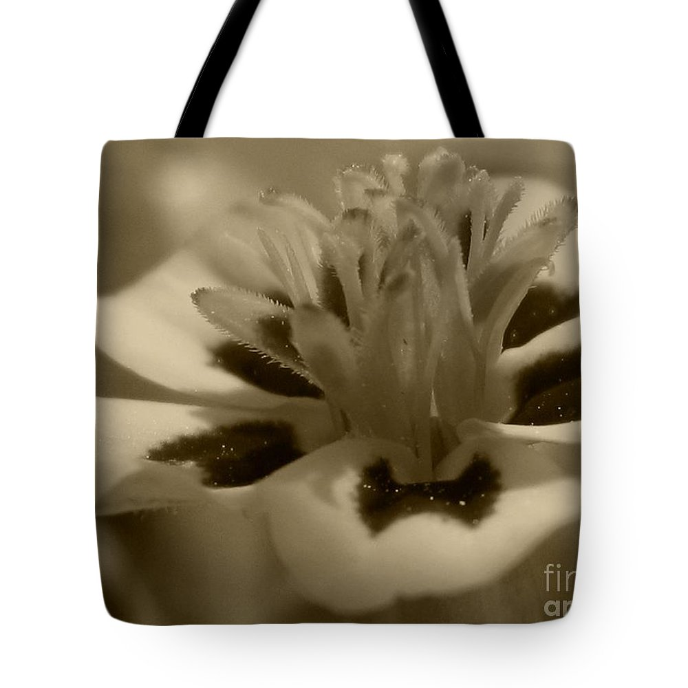 French Marigold Tote Bag featuring the photograph French Marigold Named Starfire by J McCombie