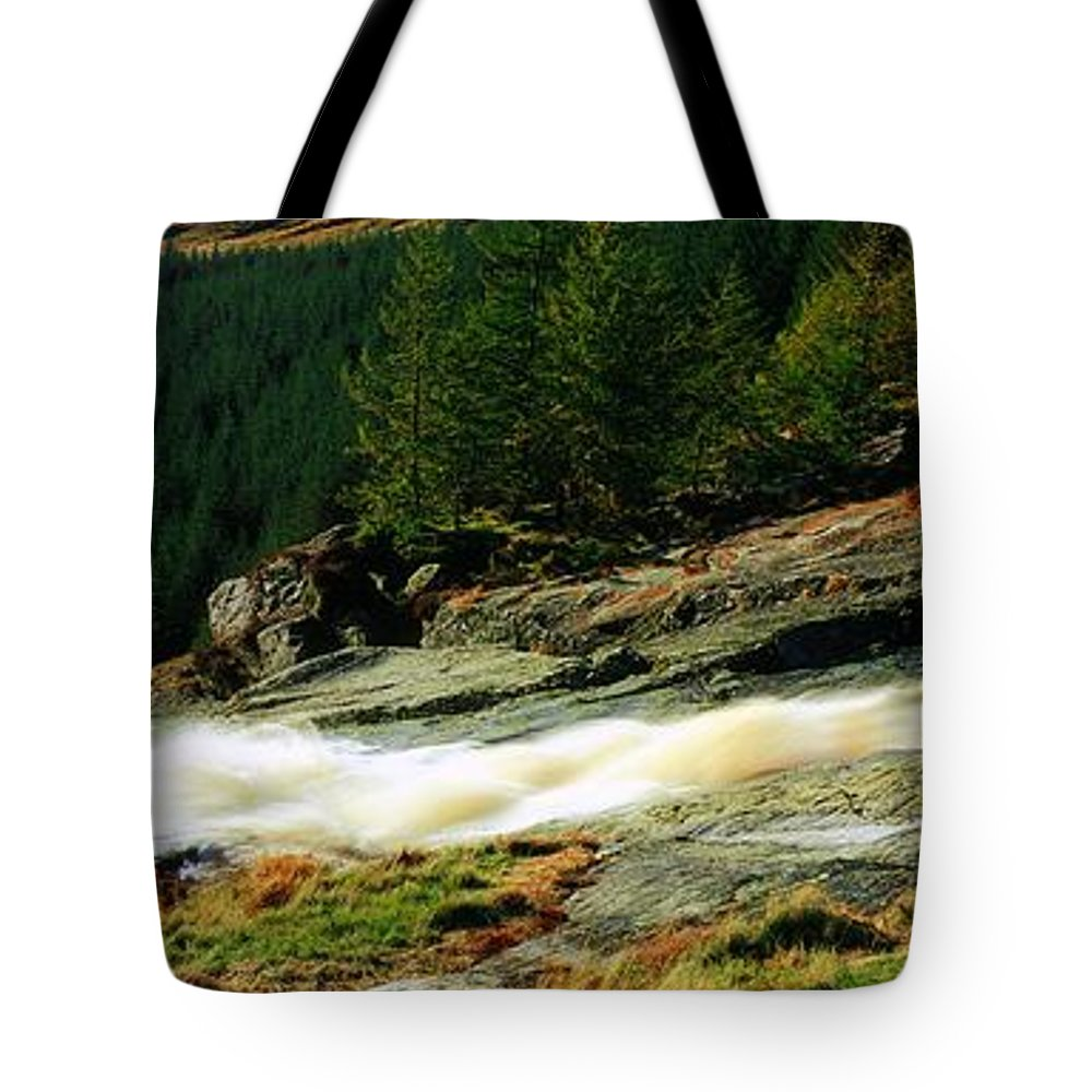 Co Wicklow Tote Bag featuring the photograph Glenmacnass Waterfall, Co Wicklow by The Irish Image Collection