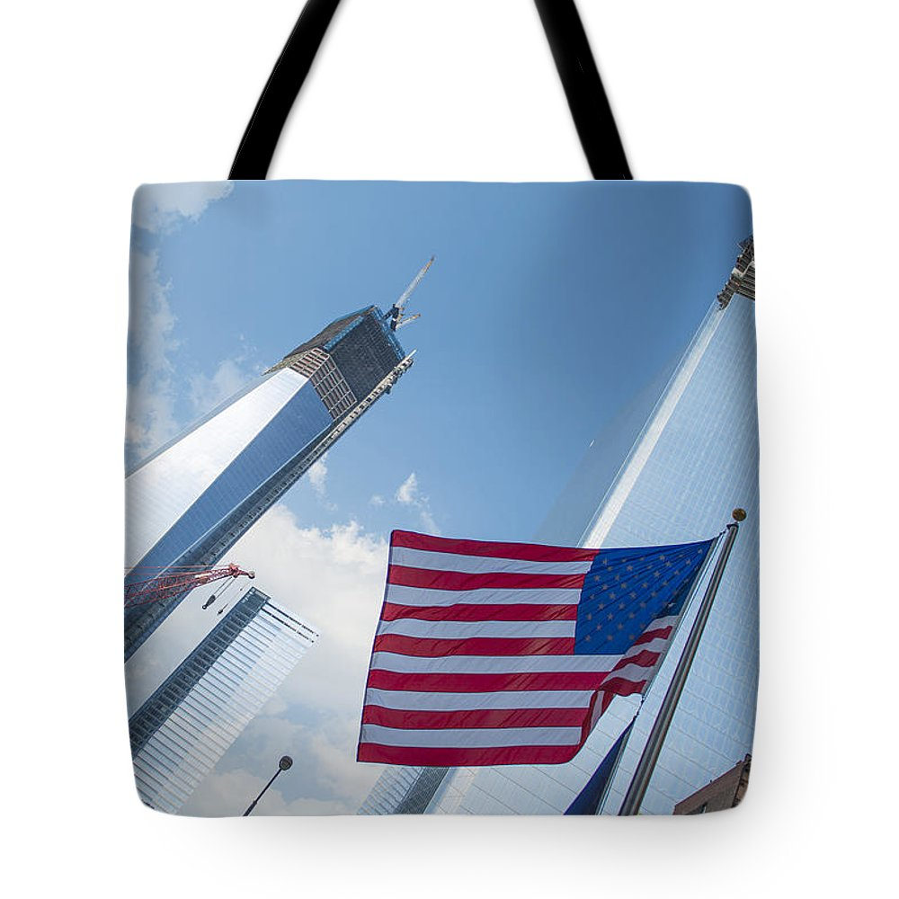 Landscape Tote Bag featuring the photograph Ground Zero Freedom Tower by Theodore Jones